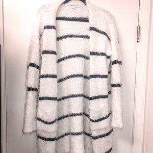 Urban Outfitters Striped Fuzzy Cardigan